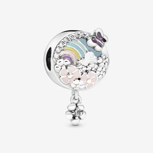 Pandora Rainbow and Flower Dangle Charm